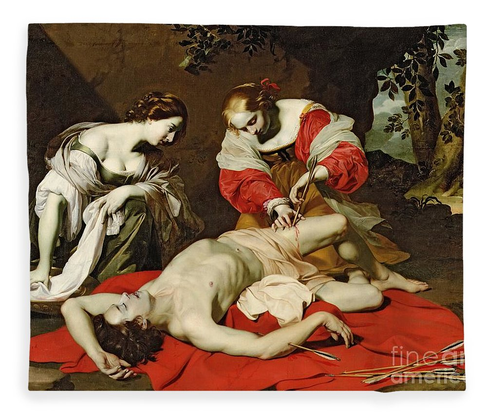 Saint Fleece Blanket featuring the painting St Sebastian Tended By The Holy Irene by Nicholas Renieri