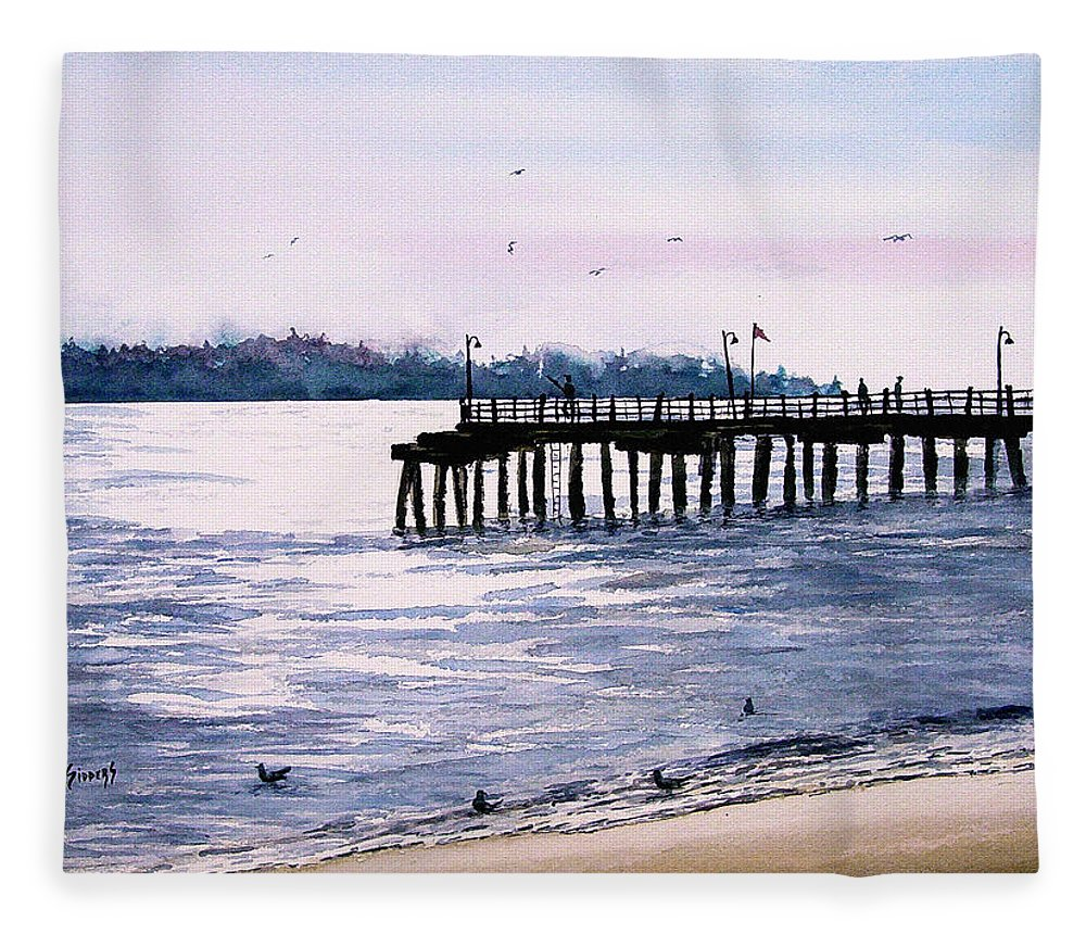 Fishing Fleece Blanket featuring the painting St. Simons Island Fishing Pier by Sam Sidders
