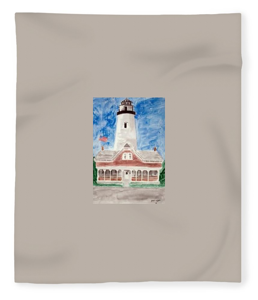 Watercolor Landscape Lighthouse Seascape Painting Fleece Blanket featuring the painting ST SIMONS LIGHTHOUSE nautical painting print by Derek Mccrea