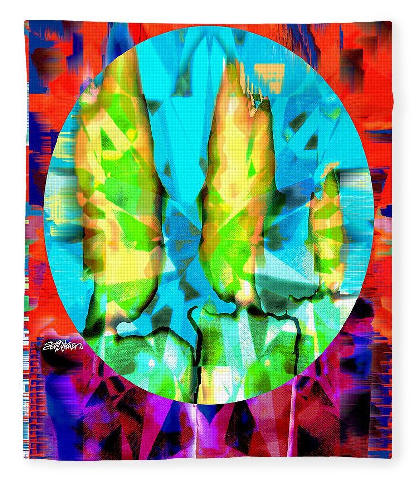 Candles Fleece Blanket featuring the digital art Stained Glass Candles by Seth Weaver