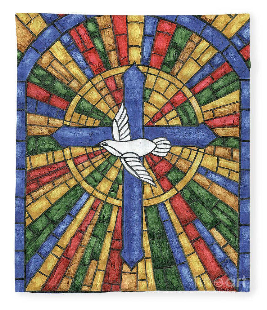 Dove Fleece Blanket featuring the painting Stained Glass Cross by Debbie DeWitt