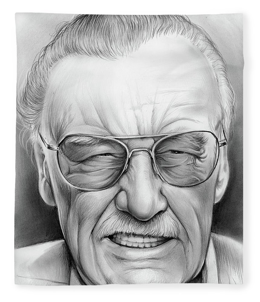 7afaeae6 Stan Lee Fleece Blanket featuring the drawing Stan Lee by Greg Joens