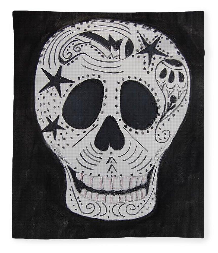Skull Fleece Blanket featuring the mixed media Star Skull by Charla Van Vlack
