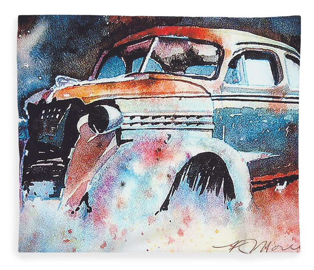 Chev Fleece Blanket featuring the painting StarlightChevy by Ron Morrison