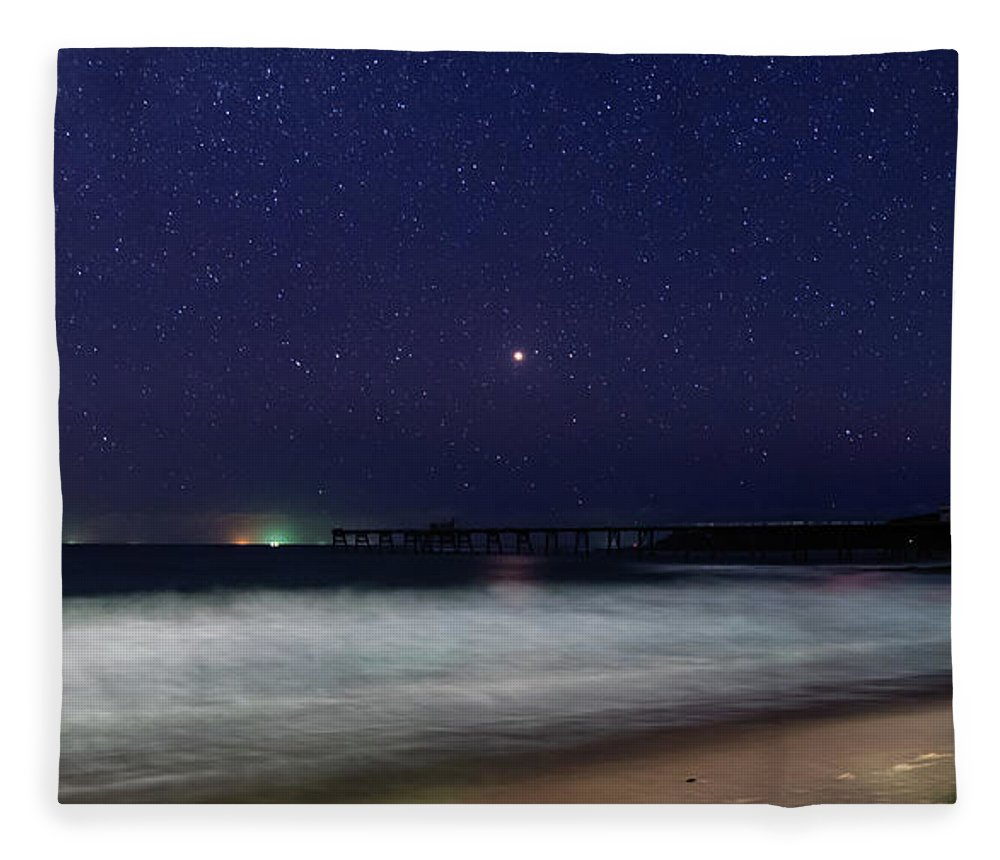 Catherine Hill Bay Fleece Blanket featuring the photograph Starry, Starry Night At Catherine Hill Bay by Merrillie Redden