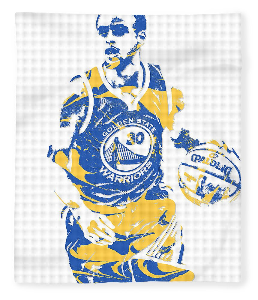 Stephen Curry Fleece Blanket featuring the mixed media Stephen Curry Golden State Warriors Pixel Art 21 by Joe Hamilton