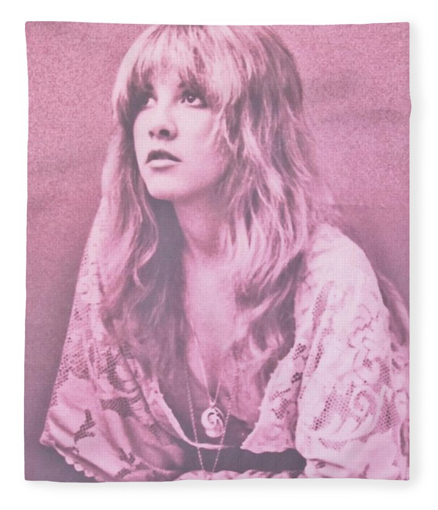 Stevie Nicks Fleece Blanket featuring the photograph Stevie Nicks In Dusty Pink by Donna Wilson