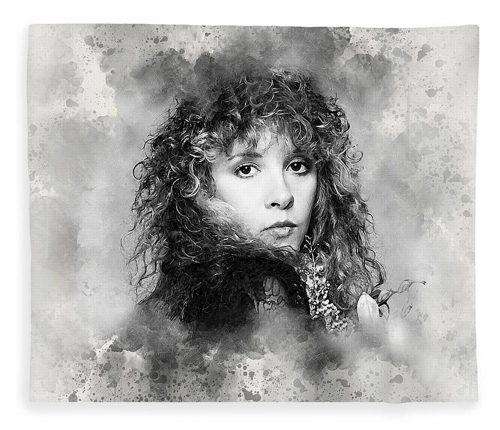 Stevie Nicks Fleece Blanket featuring the digital art Stevie Nicks by Karl Knox Images