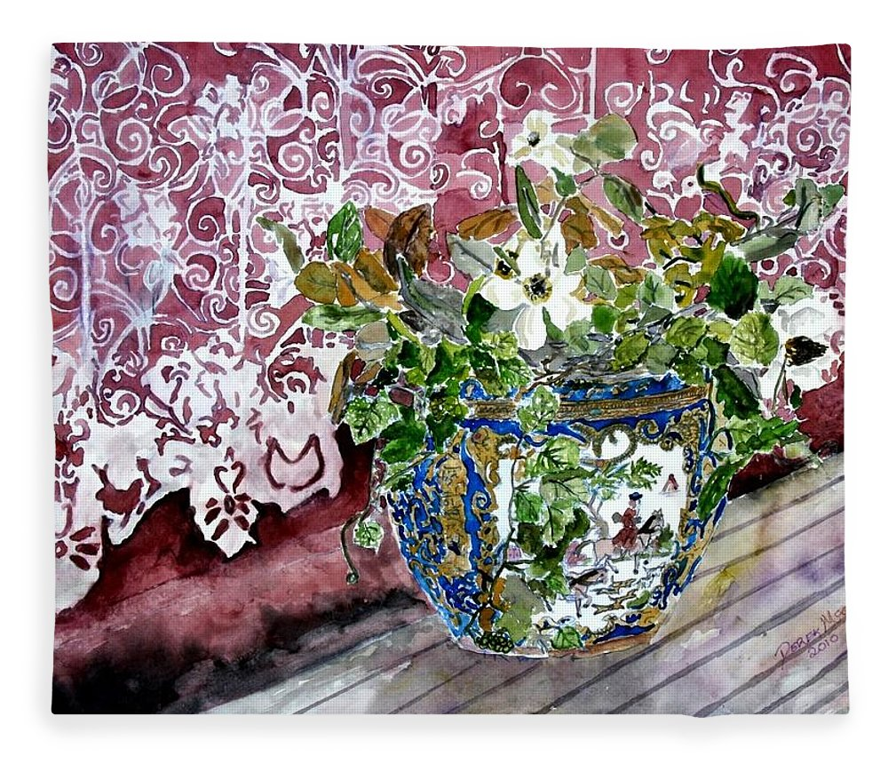 Still Life Fleece Blanket featuring the painting Still Life Vase And Lace Watercolor Painting by Derek Mccrea