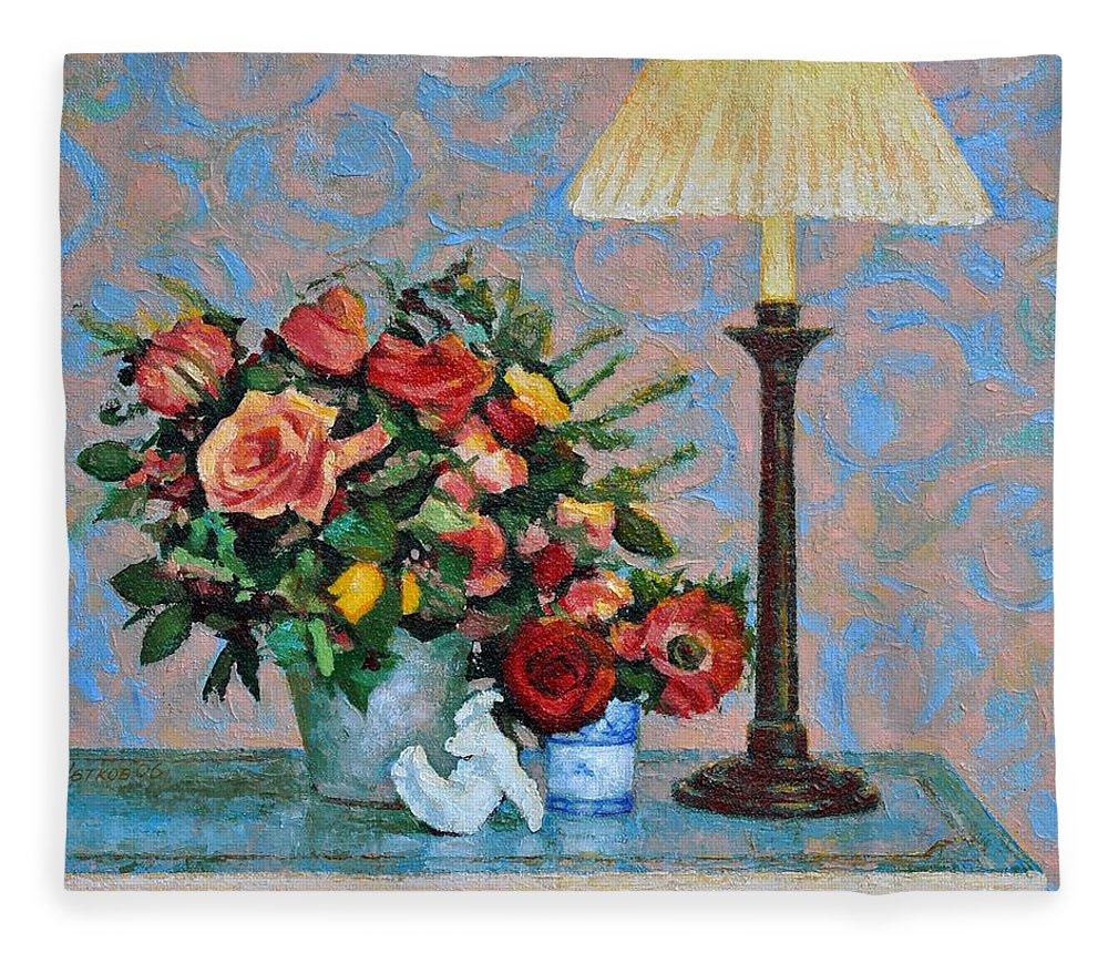 Flowers Fleece Blanket featuring the painting Still life with a Lamp by Iliyan Bozhanov