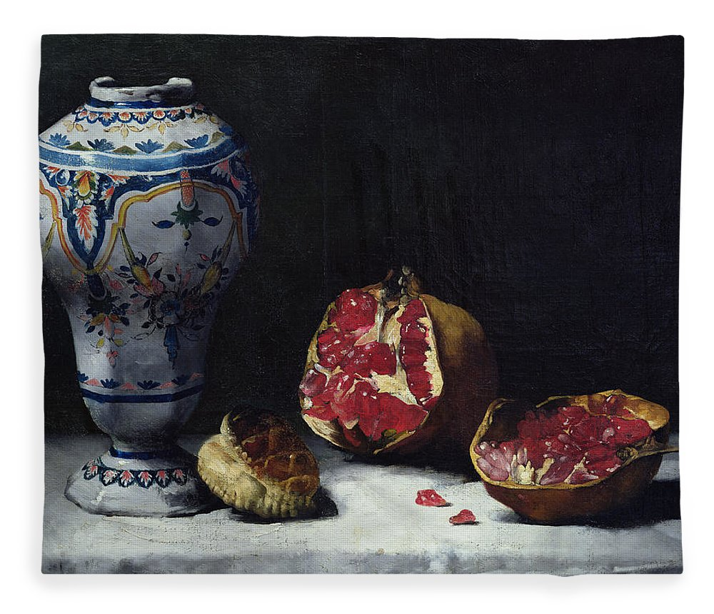 Still-life Fleece Blanket featuring the painting Still Life With A Pomegranate by Auguste Theodule Ribot