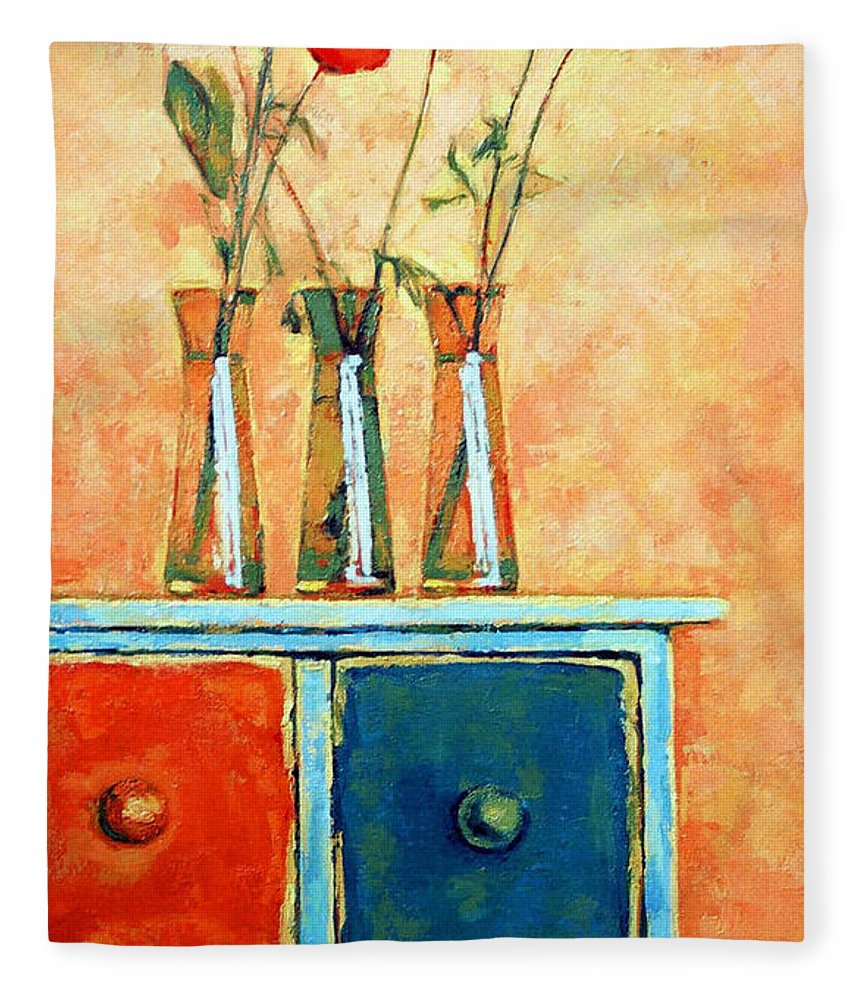Poppies Fleece Blanket featuring the painting Still life with poppies by Iliyan Bozhanov
