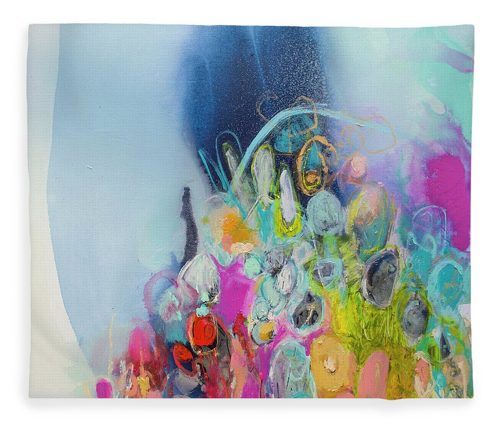 Abstract Fleece Blanket featuring the painting Still Playing by Claire Desjardins