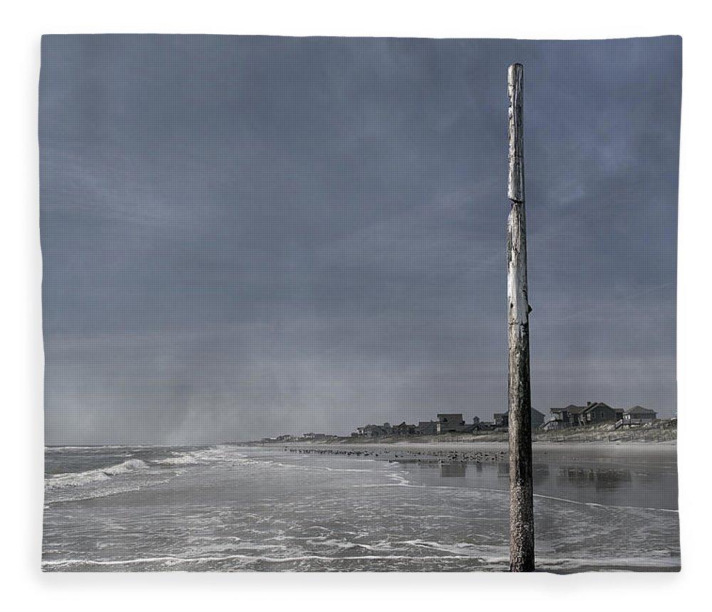 Ocean Fleece Blanket featuring the photograph Still Standing Since Fran by Betsy Knapp