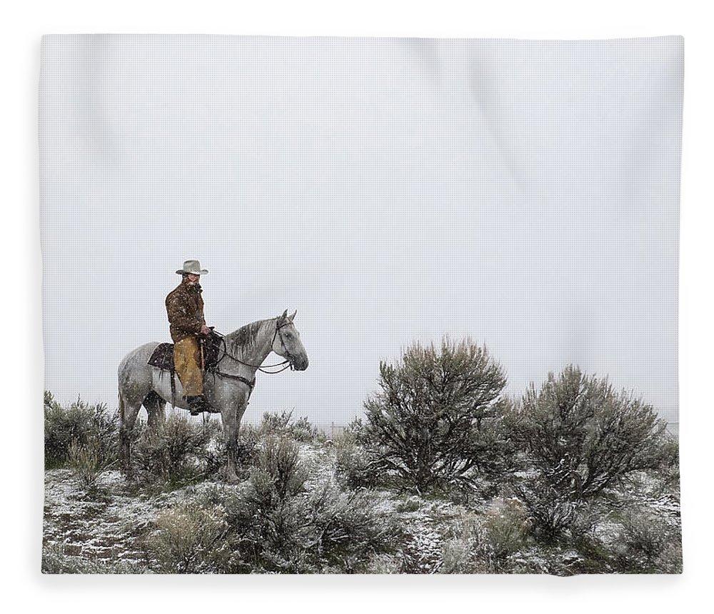 Cowboy Fleece Blanket featuring the photograph Stillness by Pamela Steege