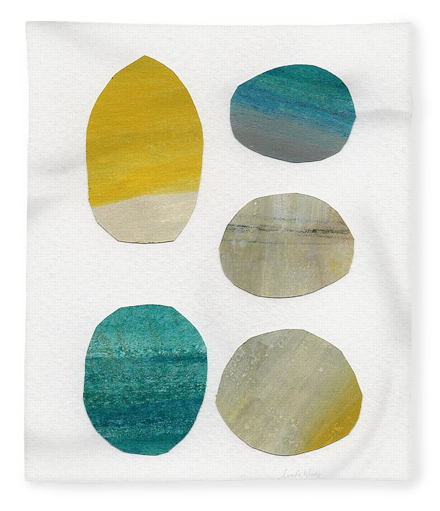 Abstract Art Fleece Blanket featuring the mixed media Stones- Abstract Art by Linda Woods