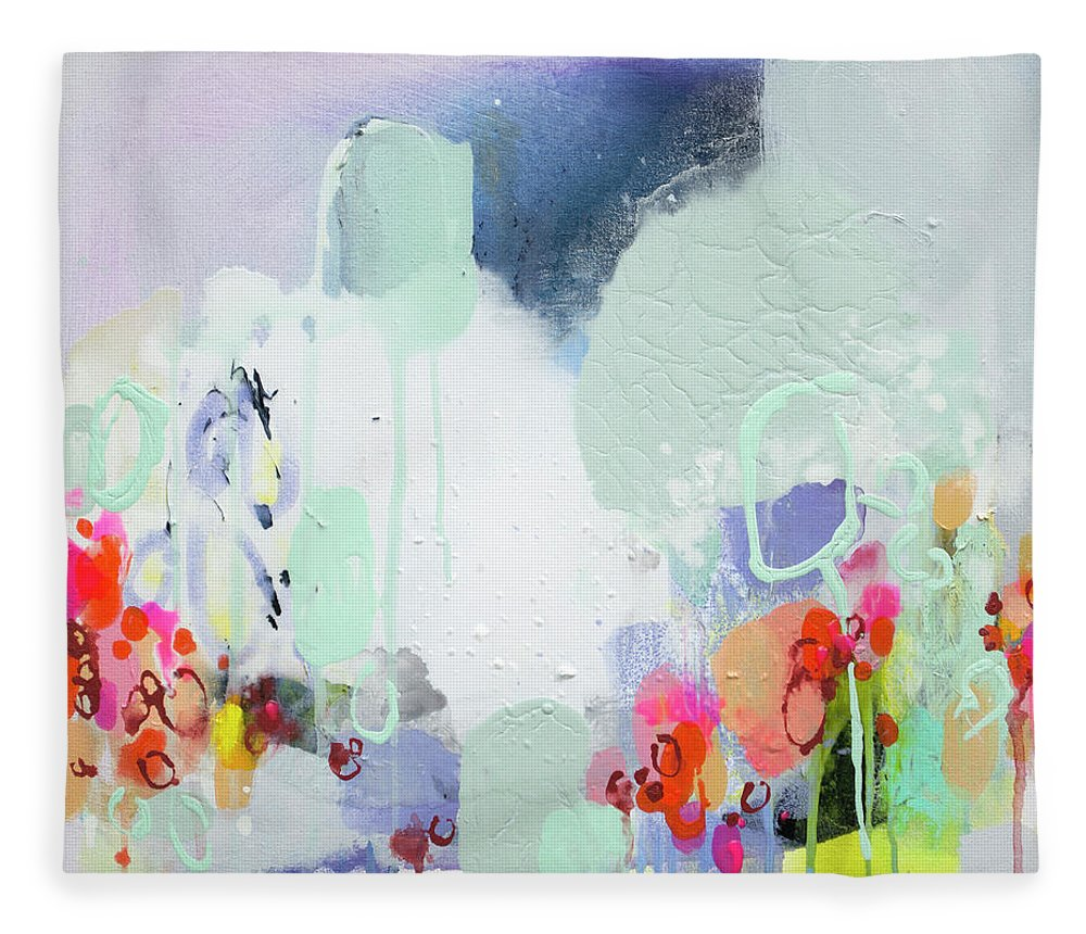 Abstract Fleece Blanket featuring the painting Stories by Claire Desjardins