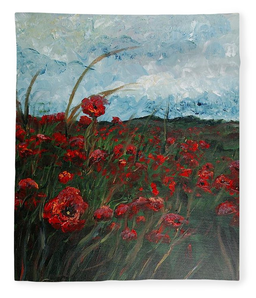 Poppies Fleece Blanket featuring the painting Stormy Poppies by Nadine Rippelmeyer