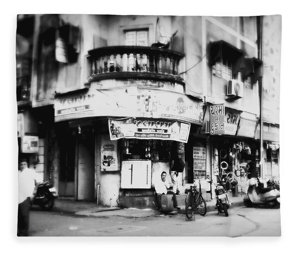 #street Photograohy #crossroads #street Corners #street Shops Fleece Blanket featuring the photograph StreetShots_Surat by Priyanka Dave