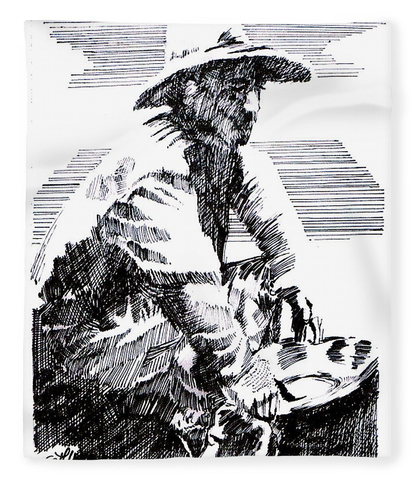 1850's Old West Fleece Blanket featuring the drawing Striking It Rich by Seth Weaver