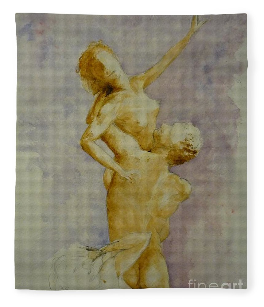 Nude Fleece Blanket featuring the painting Study In Watercolour by Lizzy Forrester