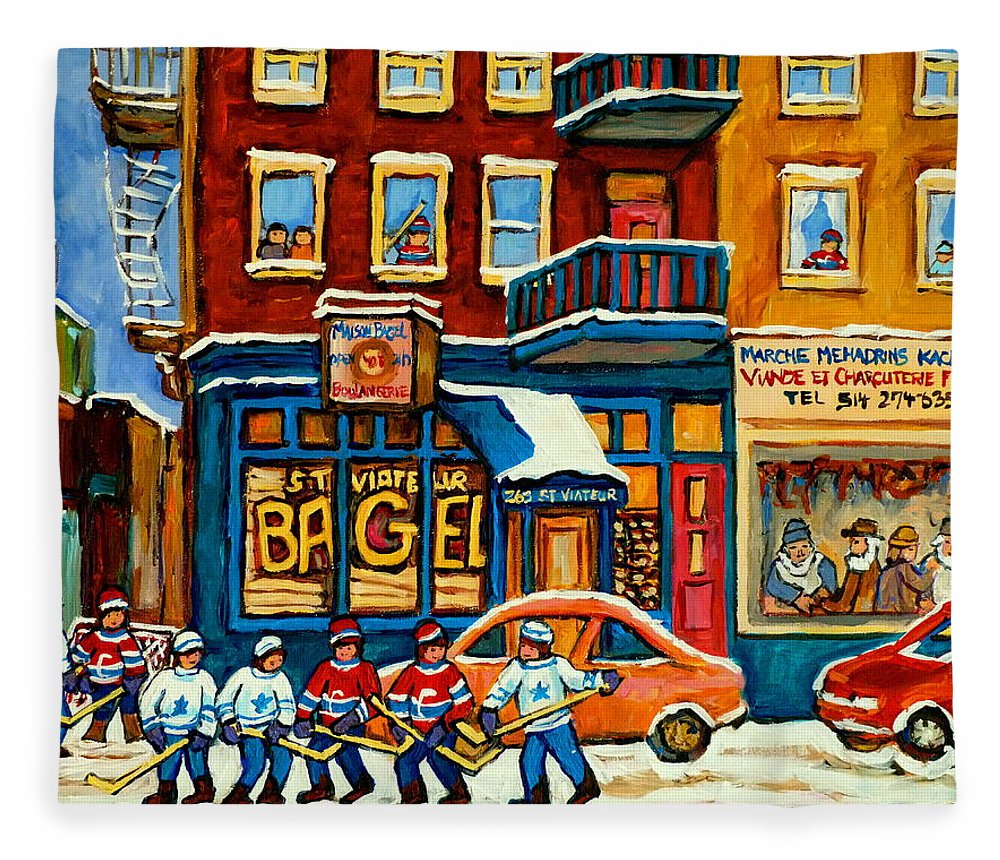 St.viateur Bagel Fleece Blanket featuring the painting St.viateur Bagel Hockey Montreal by Carole Spandau