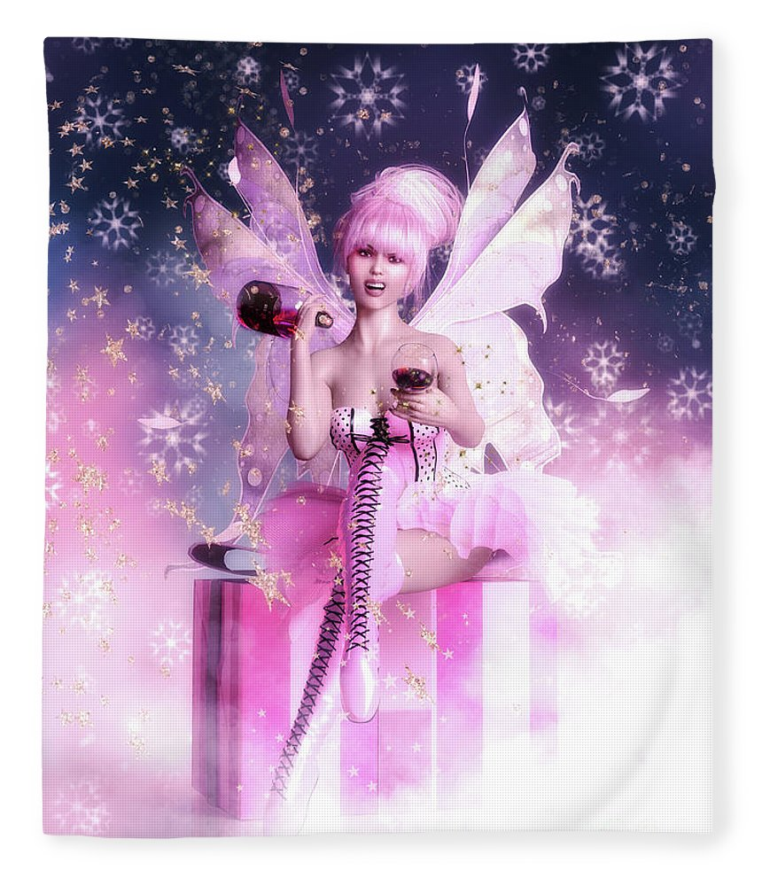 Sugar Plum Fairy Fleece Blanket featuring the digital art Sugar Plum Fairy by Shanina Conway