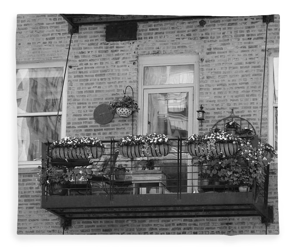 Summer Balcony on Old Brick Building in B/W on Fleece Blanket