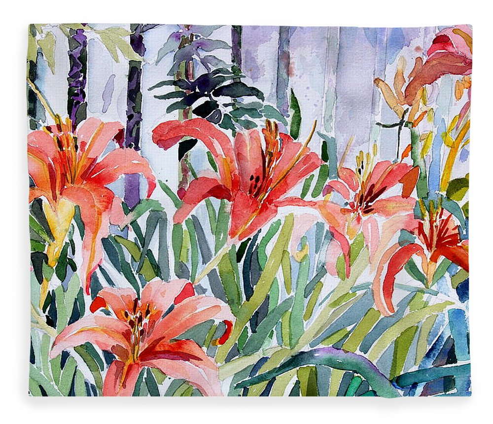 Day Lily Fleece Blanket featuring the painting My Summer Day Liliies by Mindy Newman