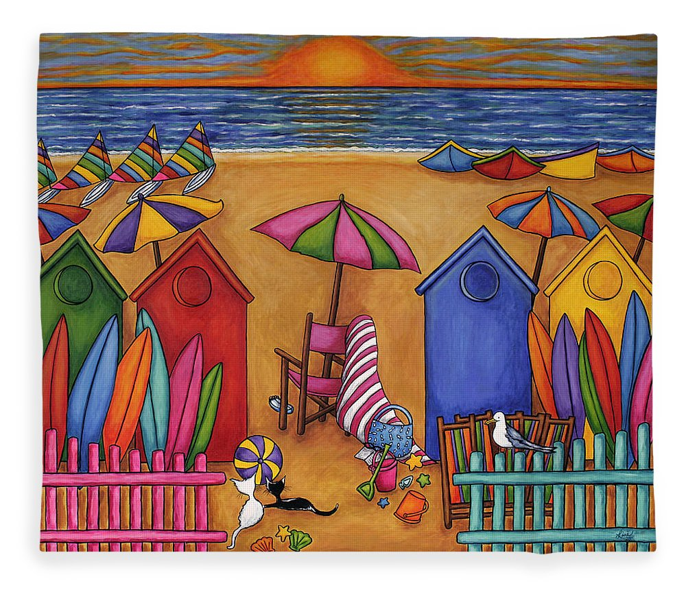 Summer Fleece Blanket featuring the painting Summer Delight by Lisa Lorenz