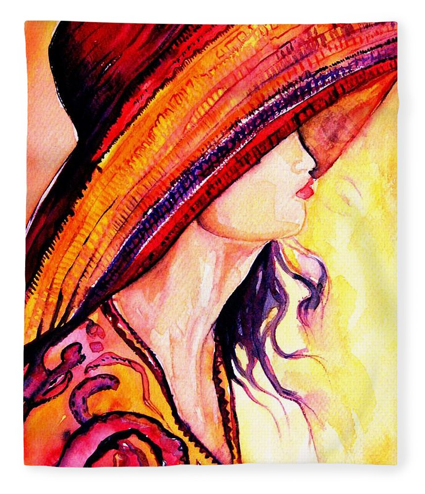 Elegant Lady Fleece Blanket featuring the painting Summer Hat by Carole Spandau