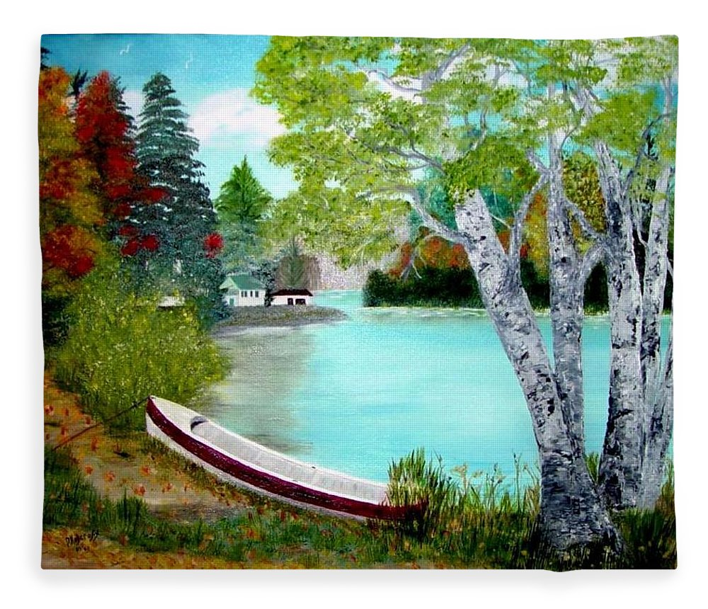 Beautiful Bracebridge Ontario Oil Painting Fleece Blanket featuring the painting Summer In The Muskoka's by Peggy Holcroft