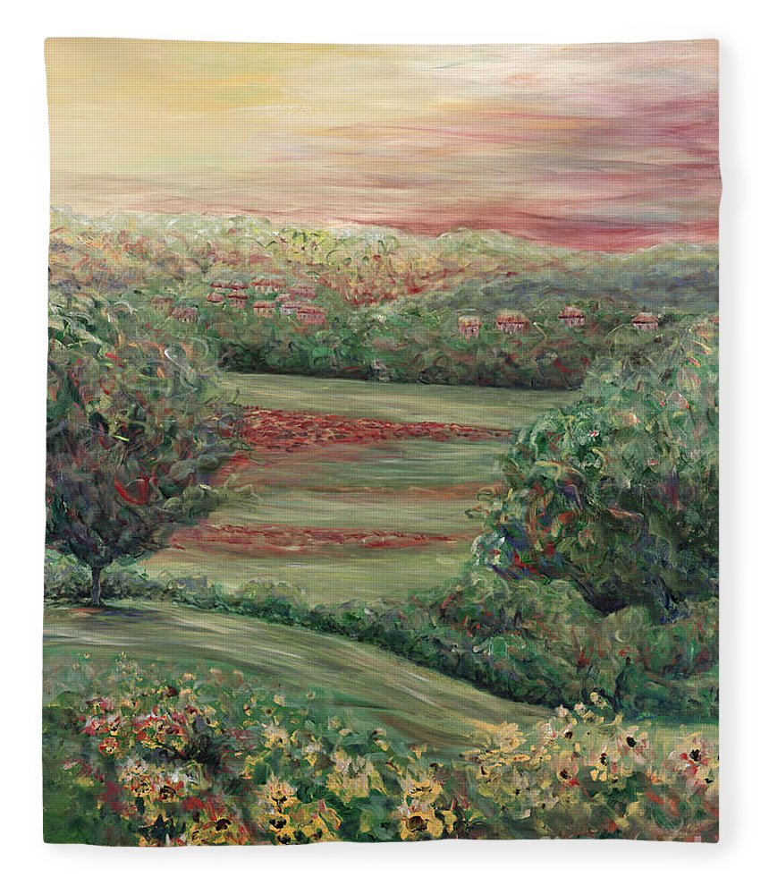 Landscape Fleece Blanket featuring the painting Summer in Tuscany by Nadine Rippelmeyer