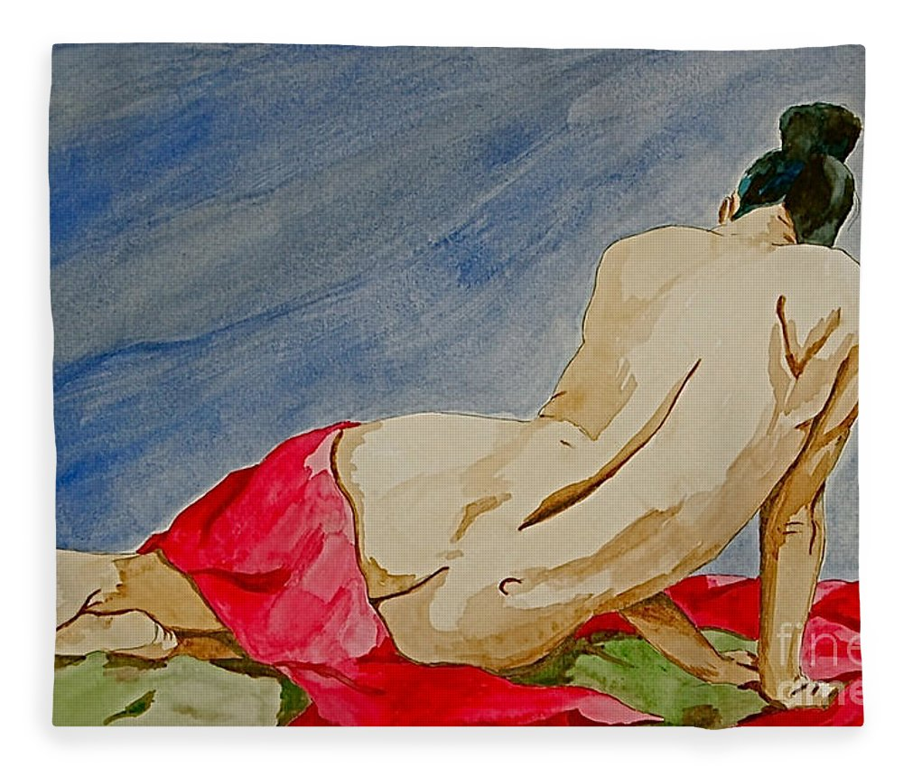Nudes Red Cloth Fleece Blanket featuring the painting Summer morning 2 by Herschel Fall