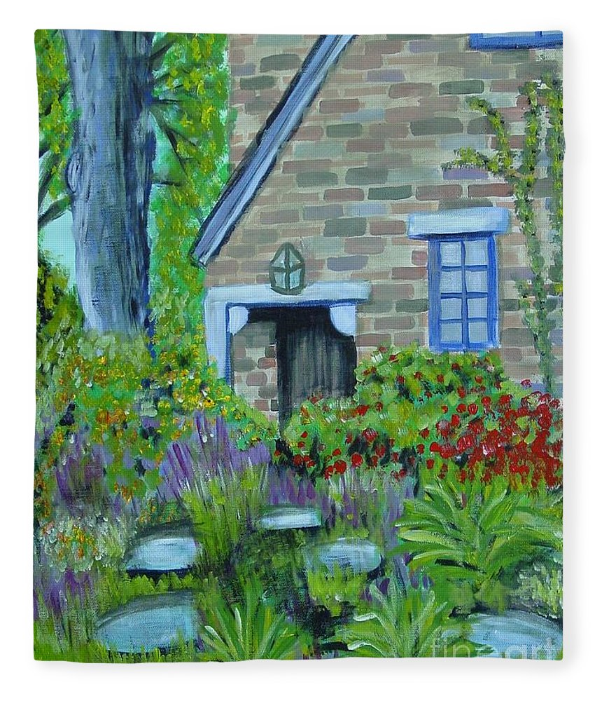Cottage Fleece Blanket featuring the painting Summer Retreat by Laurie Morgan