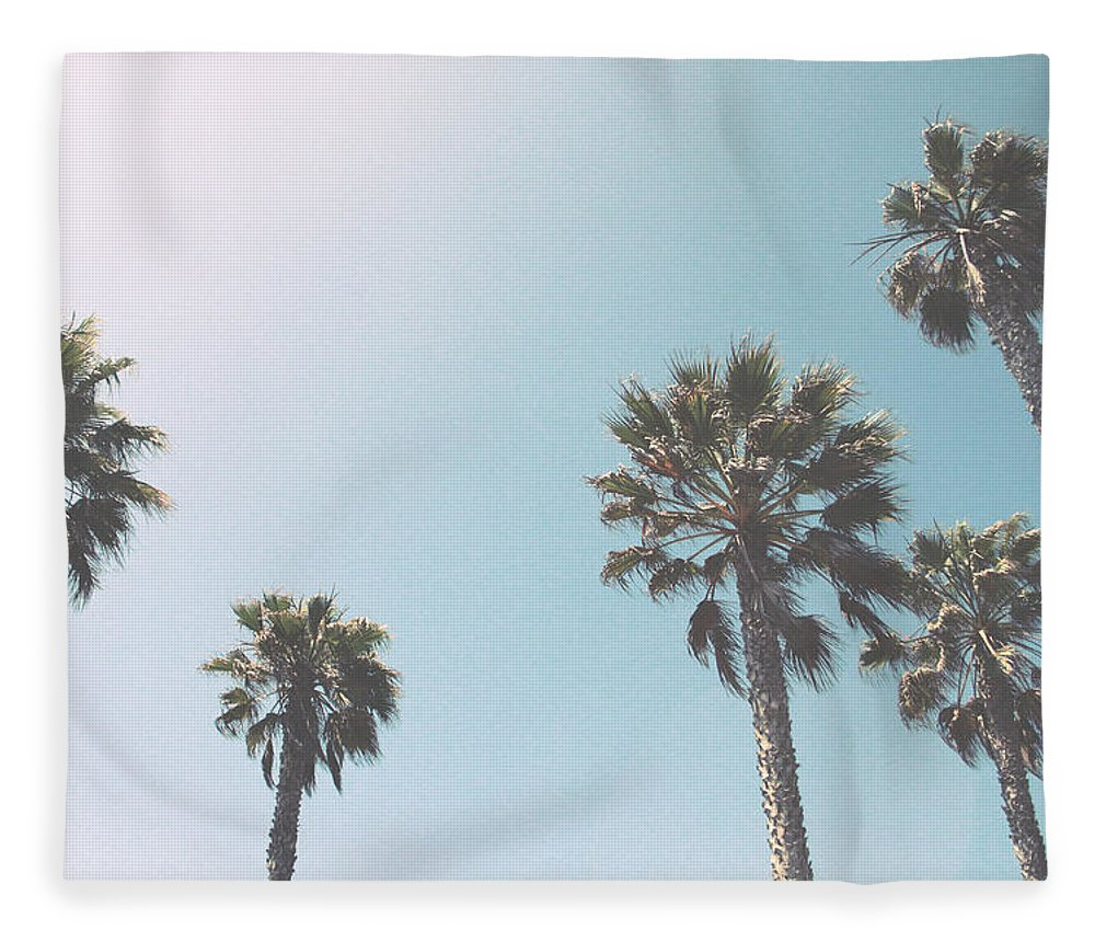 Palm Trees Fleece Blanket featuring the photograph Summer Sky- By Linda Woods by Linda Woods