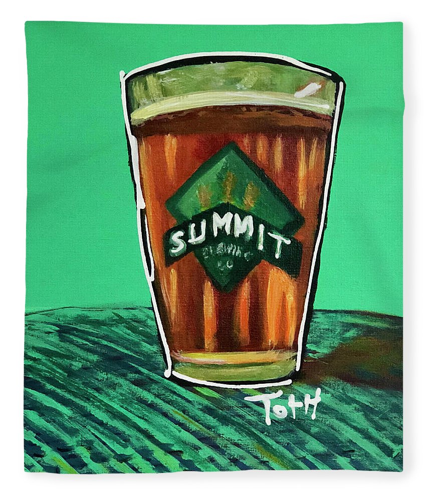 Summit Fleece Blanket featuring the painting Summit 2 by Laura Toth