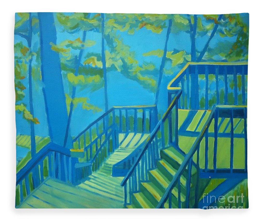 New Hampshire Fleece Blanket featuring the painting Suncook Stairwell by Debra Bretton Robinson