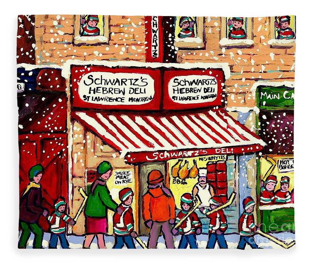 Montreal Fleece Blanket featuring the painting Sunday Lineup at the Deli by Carole Spandau