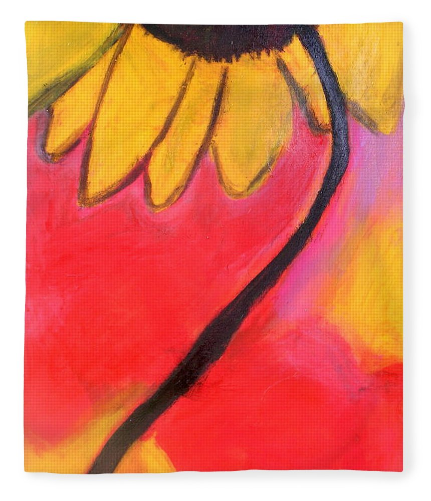 Sunflower Fleece Blanket featuring the painting Sunflower Love by Patricia Byron