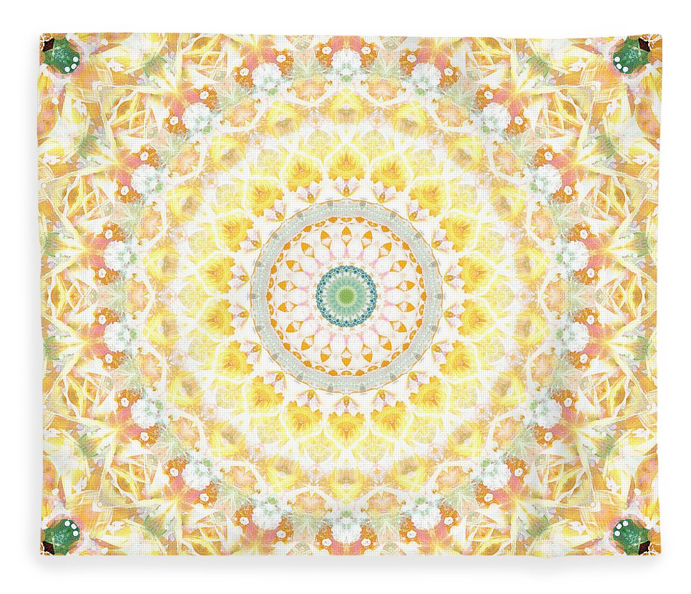 Sunflower Fleece Blanket featuring the painting Sunflower Mandala- Abstract Art by Linda Woods by Linda Woods