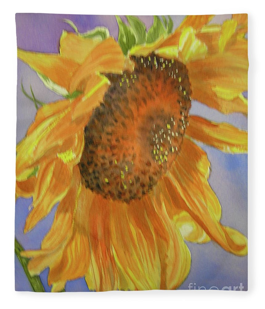 Sunflower Fleece Blanket featuring the painting Sunflower by Midge Pippel