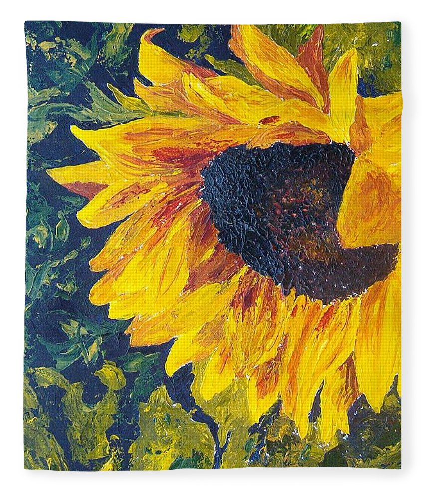 Fleece Blanket featuring the painting Sunflower by Tami Booher