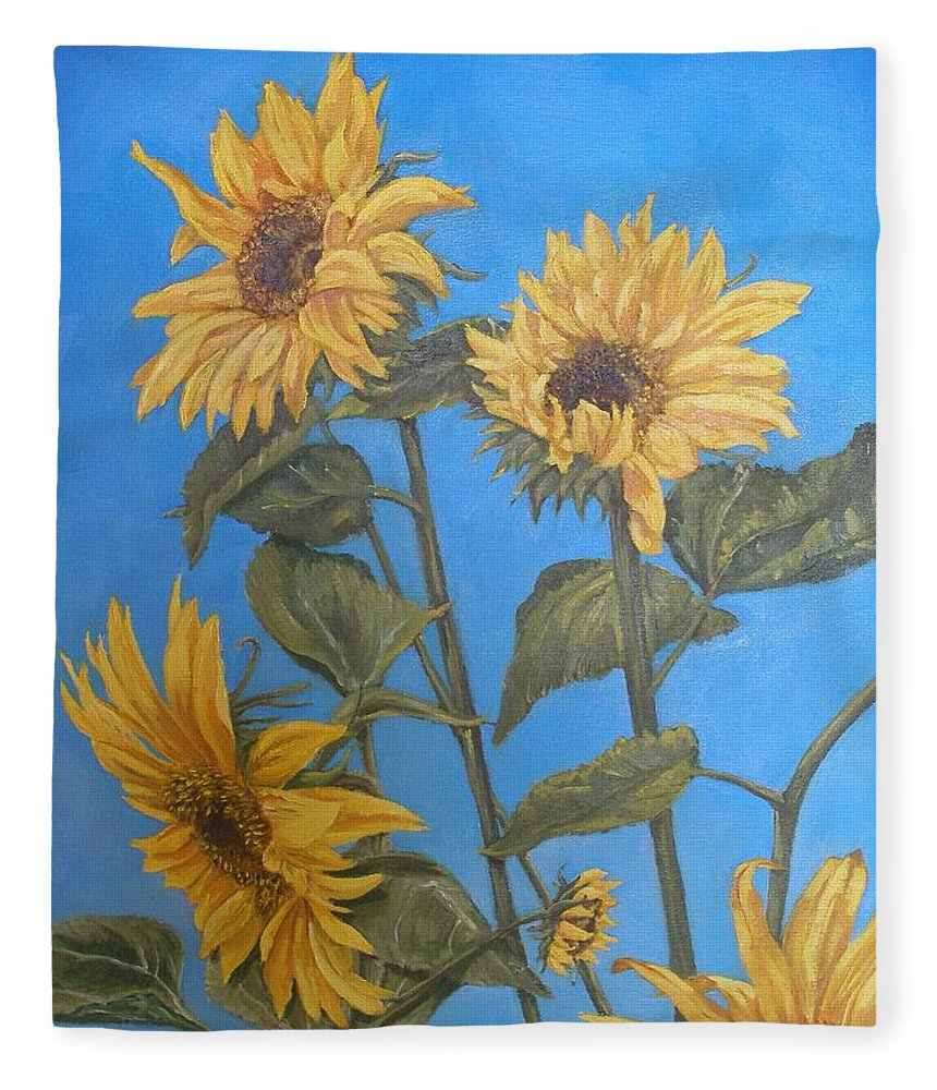 Sunflower Fleece Blanket featuring the painting Sunflower by Travis Day