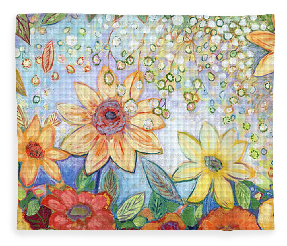 Abstract Fleece Blanket featuring the painting Sunflower Tropics by Jennifer Lommers