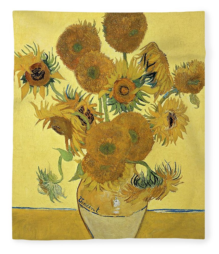 Sunflowers Fleece Blanket featuring the painting Sunflowers, 1888 by Vincent Van Gogh