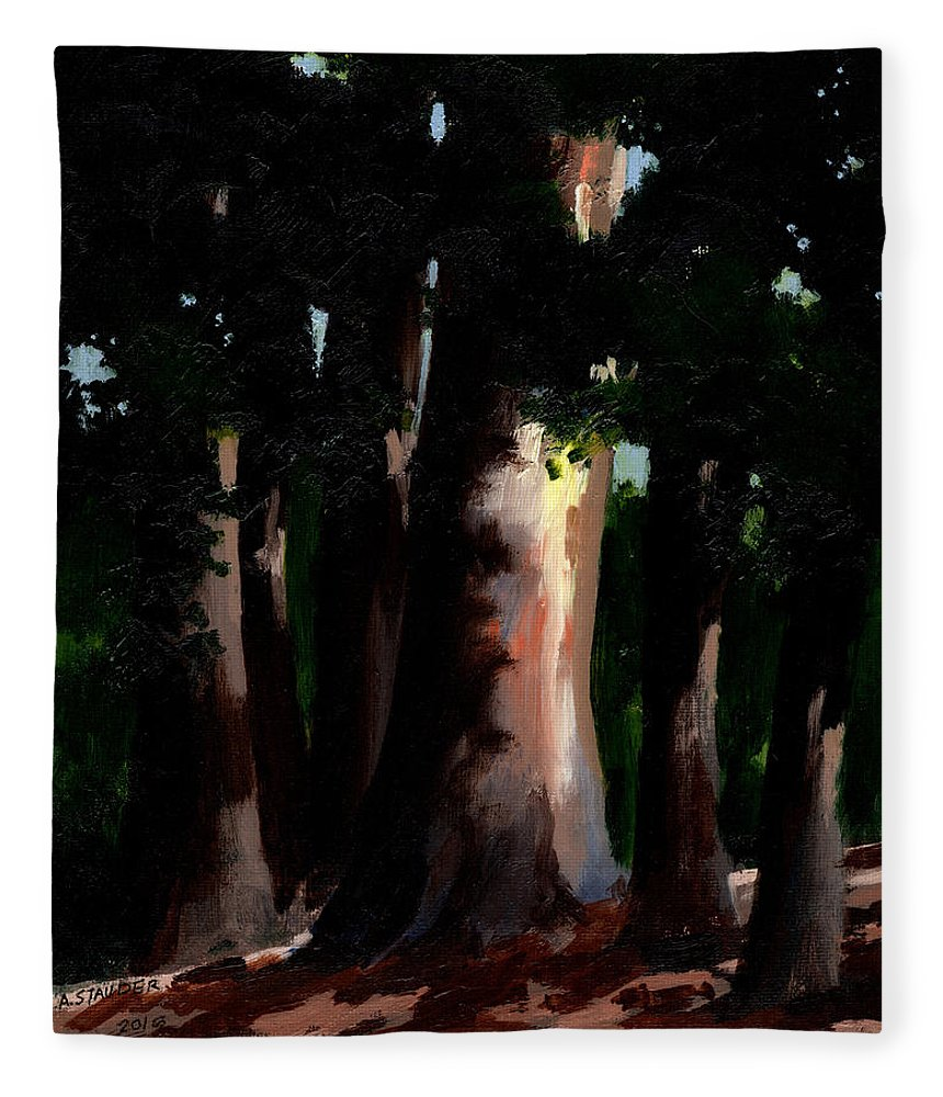 Sunlight Fleece Blanket featuring the painting Sunlight And Shadows - Eucalyptus Majesties by Arthur Stauder