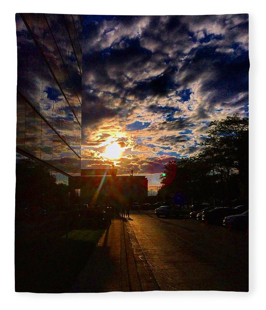 Clouds Fleece Blanket featuring the photograph Sunlit Cloud Reflection by Nick Heap