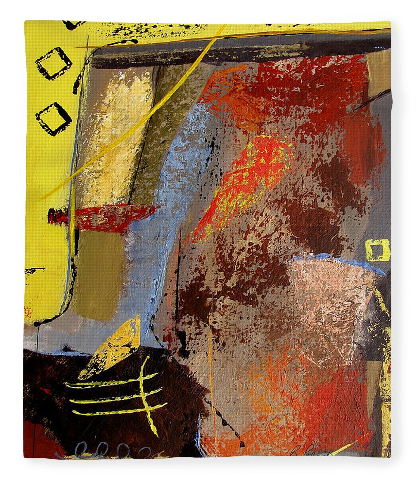 Abstract Fleece Blanket featuring the painting Sunny Disposition by Ruth Palmer