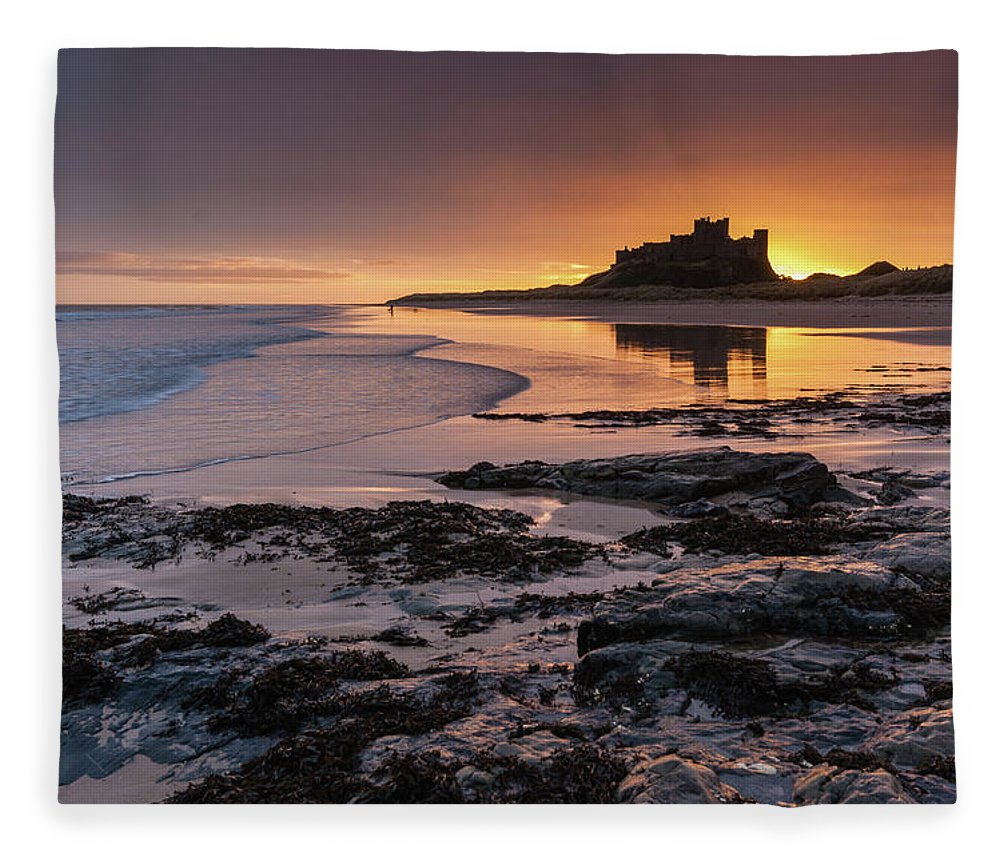 Sunrise Fleece Blanket featuring the photograph Sunrise At Bamburgh Castle #4, Northumberland, North East England by Anthony Lawlor
